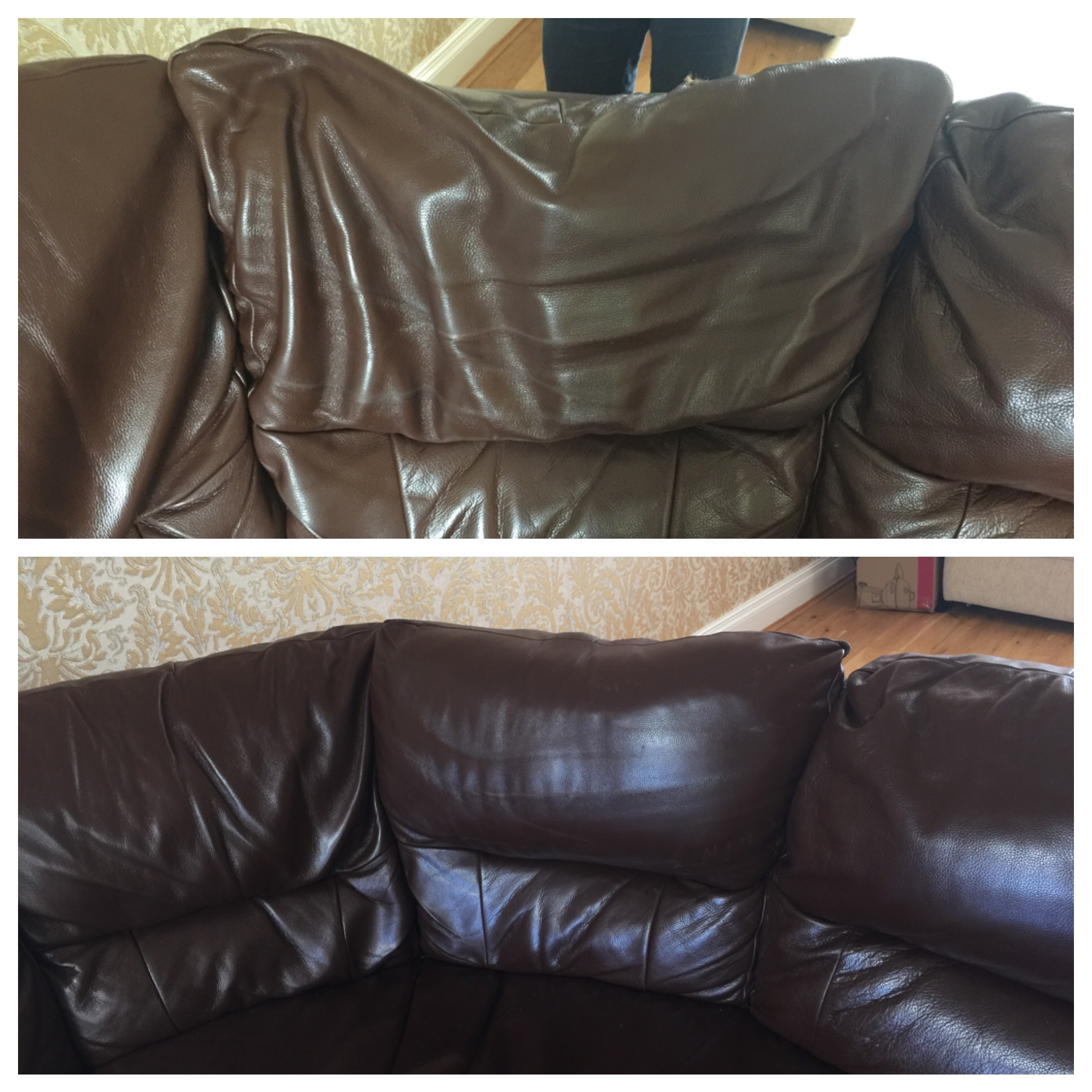 Leather mobi sofa repadding2